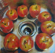 Timi Johnson Prints - Apples in the sink Print by Timi Johnson