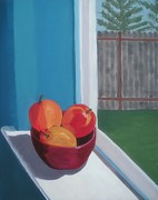 Interior Still Life Paintings - Apples in Window by Rachel Dunkin
