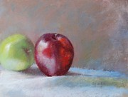 Printed Pastels Prints - Apples Print by Nancy Stutes