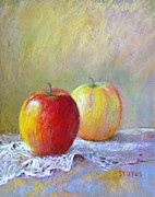 Red Prints - Apples On A Table Print by Nancy Stutes