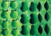 Contrasting Posters - Apples Pears and Limes Poster by Julie Nicholls