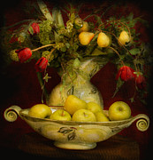 French Pears Prints - Apples Pears And Tulips Print by Jeff Burgess