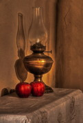 Oil Lamp Posters - Apples Poster by Ronald Pniewski