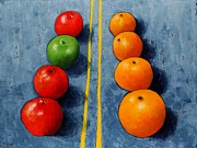 Asphalt Paintings - Apples vs Oranges by Vicki Rees