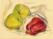 Ripe Pastels Posters - Apples - Yellow and Red Poster by MM Anderson