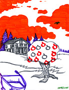 Awesome Drawings Originals - Appletree  by John Ashton Golden