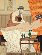 Lovers Drawings Prints - Application of White Egyptian Perfume to the Hip Print by Joseph Kuhn-Regnier