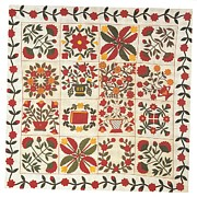 Hand Made Tapestries - Textiles - Applique Album Quilt by Artist Unidentified