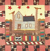 Reproduction Tapestries - Textiles Posters - Applique Crib Quilt Poster by Artist Unknown