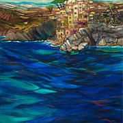 Jen Norton Paintings - Approach to Riomaggiore by Jen Norton