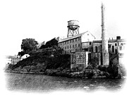 Alcatraz Drawings Prints - Approaching Alcatraz - Pencil Print by Jenny Hudson