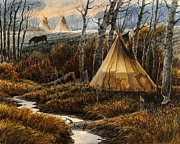 Aspen Western Paintings - Approaching Dusk by Steve Spencer