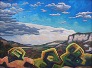 Abstracted Landscape Paintings - Approaching electrical storm by Dale Beckman