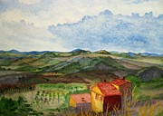 Wine Country Watercolor Paintings - Approaching Montepulciano by Martha Kuper Brinson