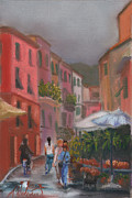 Buildings Pastels - Approaching Storm in the Cinque Terre by Leah Wiedemer