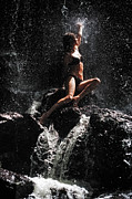 Model Release Prints - Approaching the Light. Anna at Eureka Waterfalls. Mauritius Print by Jenny Rainbow