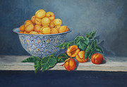 Peaches Painting Metal Prints - Apricots and Peaches Metal Print by Enzie Shahmiri