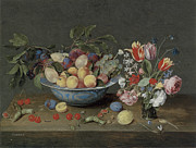Eating Paintings - Apricots plums and grapes in a bowl by Jacob Van Hulsdonck