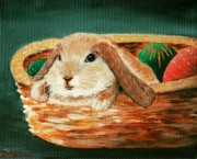 Small Basket Framed Prints - April Bunny Framed Print by Anastasiya Malakhova