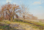 Spring Landscape Art - April day by Victoria Kharchenko