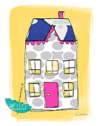 Yellow House Posters - April Showers House Poster by Linda Woods