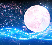 Solar Eclipse Digital Art - Aprils Pink Full Moon by Barbara Chichester