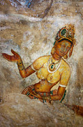 Ceylon Framed Prints - Apsara. Sigiriya Cave Painting Framed Print by Jenny Rainbow