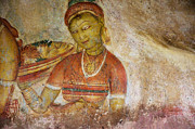 Fresco Framed Prints - Apsara with Flowers. Sigiriya Cave Fresco Framed Print by Jenny Rainbow