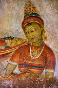 Ceylon Prints - Apsara with Flowers. Sigiriya Cave Painting Print by Jenny Rainbow