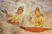 Ceylon Framed Prints - Apsaras. Scene from Cave Painting in Sigiriya Framed Print by Jenny Rainbow