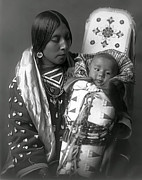 Indian Women Framed Prints - APSAROKE WOMAN and BABY  1908 Framed Print by Daniel Hagerman