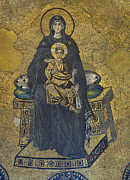 Christ Child Photo Posters - Apse mosaic Hagia Sophia Virgin and Child Poster by Ayhan Altun