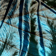 Nature Study Digital Art - Aqua and Brown Leaf Montage by Bonnie Bruno