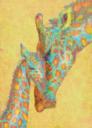 Animals Love Prints - Aqua And Orange Giraffes Print by Jane Schnetlage