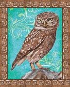 Border Painting Prints - Aqua Barn Owl Print by Debbie DeWitt