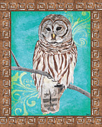 Border Painting Prints - Aqua Barred Owl Print by Debbie DeWitt