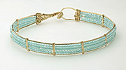 Wire Wrap Jewelry Art - Aqua bead bracelet by Alicia Short
