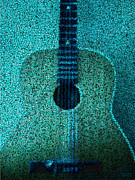 Music Lovers - Aqua Blue Guitar by Hanza Turgul