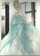 Gown Mixed Media Framed Prints - Aqua Chifon  Framed Print by P J Lewis