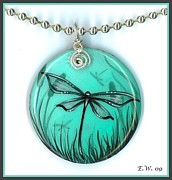 Featured Jewelry - Aqua Dragonfly Pendant by Elaina  Wagner