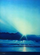 Rays Of Light Prints - Aqua Earth Print by Christian Chapman Art