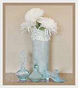 Mums Digital Art Framed Prints - Aqua Floral Still Life Framed Print by Marsha Heiken
