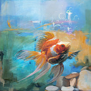 Fish Painting Posters - Aqua Gold Poster by Catf