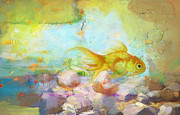 Exotic Fish Paintings - Aqua Goldilocks by Catf