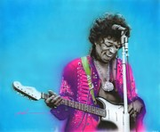 Jimi Hendrix Posters - Aqua Haze Poster by Christian Chapman Art