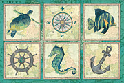Turtles Posters - Aqua Maritime Patch Poster by Debbie DeWitt