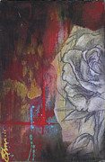 Red White And Blue Mixed Media - Aqua Red Rose No. 2 by Bhreon Bynum