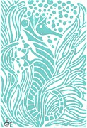 Sea Shell Painting Prints - Aqua Seahorse Print by Stephanie Troxell