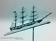 Weathervane Prints - Aqua Ship Weathervane Print by Kathy Barney