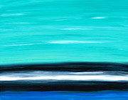 Ocean Shore Painting Posters - Aqua Sky - Bold Abstract Landscape Art Poster by Sharon Cummings
